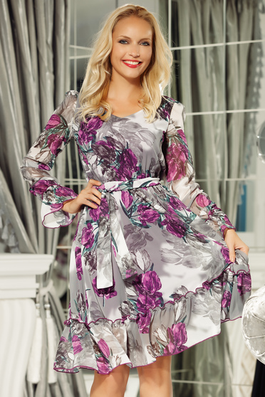 Fofy purple daily dress voile fabric with inside lining with elastic waist accessorized with tied waistband