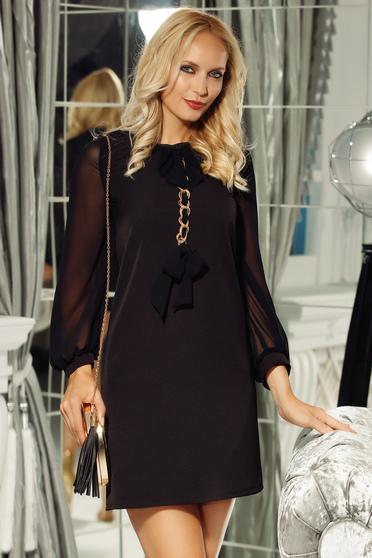 Fofy black dress elegant a-line non-flexible thin fabric with metalic accessory