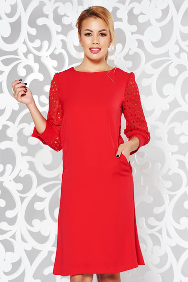 Red dress elegant a-line nonelastic fabric with inside lining with pockets