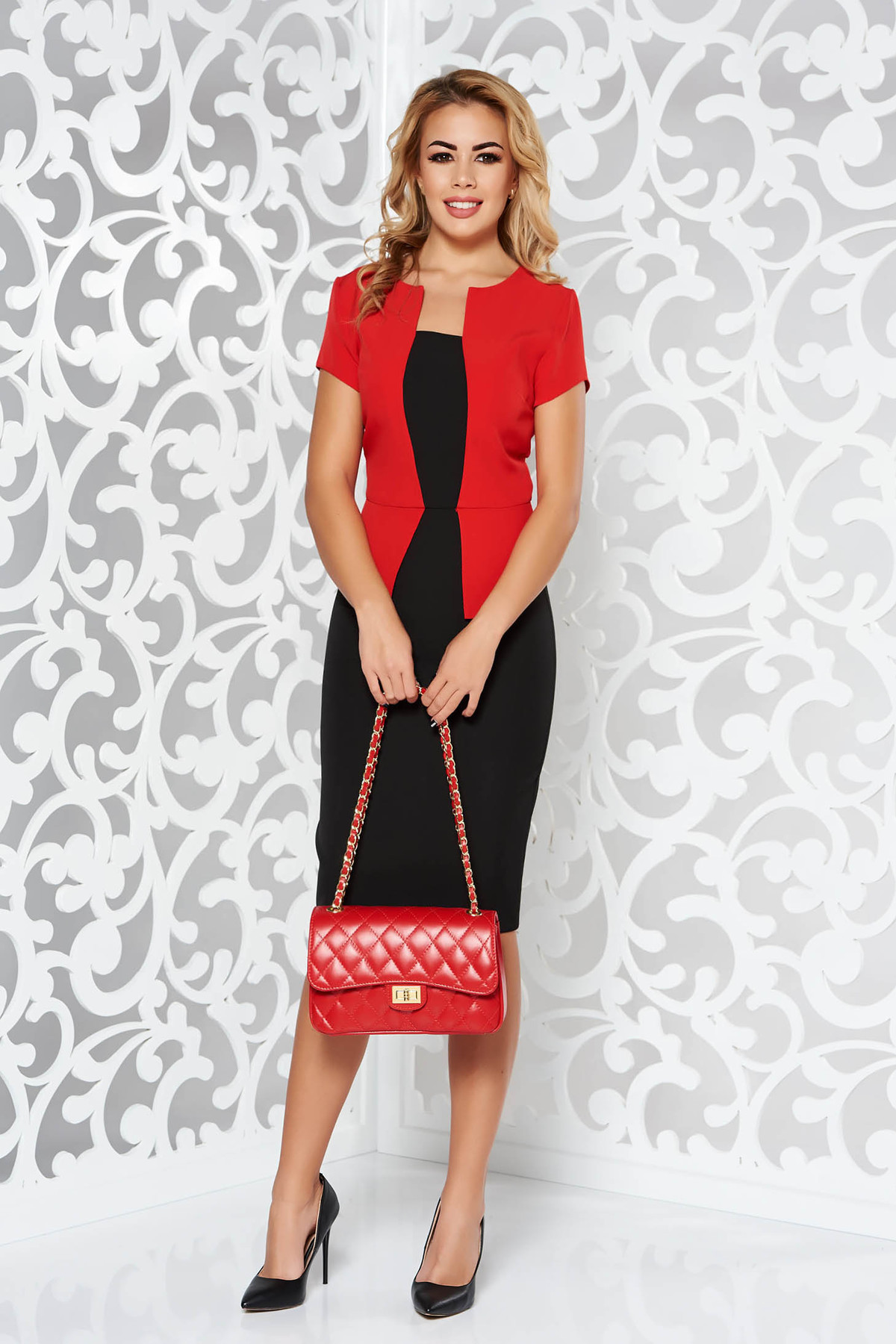 Rochie rosie office tip creion din stofa usor elastica cu peplum