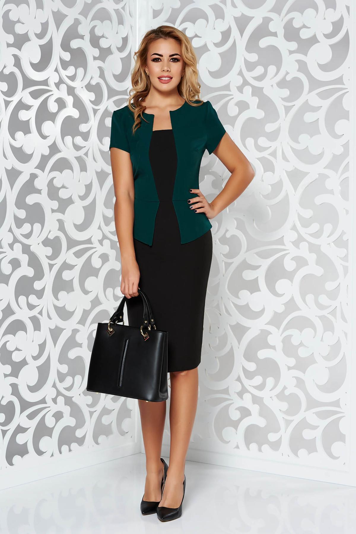 Rochie verde office tip creion din stofa usor elastica cu peplum