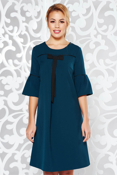 Darkgreen flared dress slightly elastic fabric with bell sleeve office