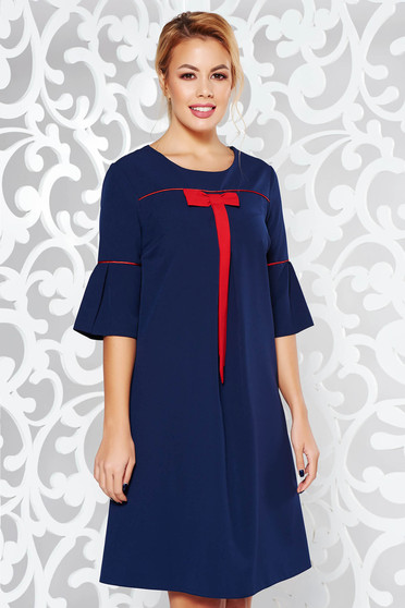 Darkblue flared dress slightly elastic fabric with bell sleeve office