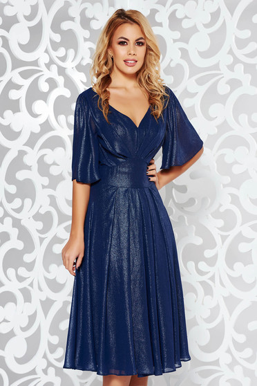 Darkblue dress occasional cloche from shiny fabric with inside lining with v-neckline