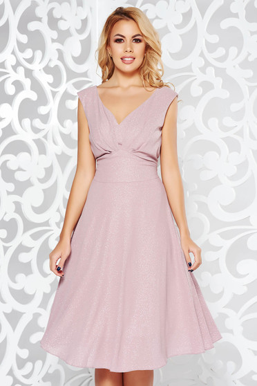 Rosa dress occasional from shiny fabric with inside lining with v-neckline