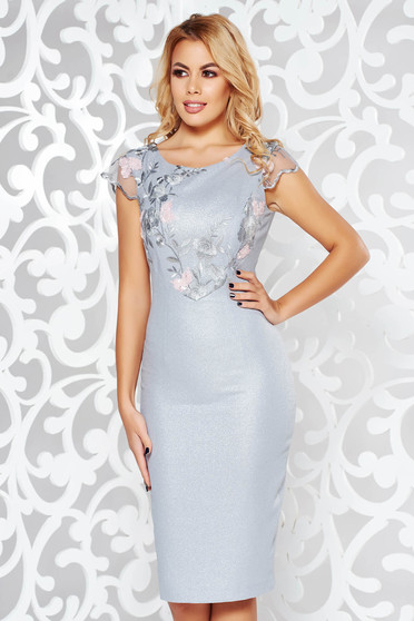 Grey dress occasional pencil from elastic fabric from shiny fabric with inside lining with lace details