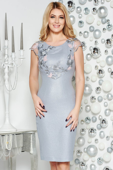 Grey occasional pencil dress from elastic fabric from shiny fabric with inside lining with lace details