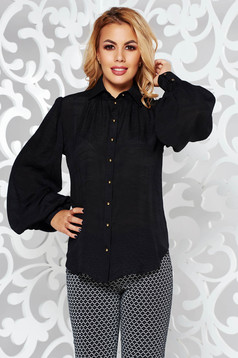 PrettyGirl black women`s shirt office flared airy fabric long sleeve