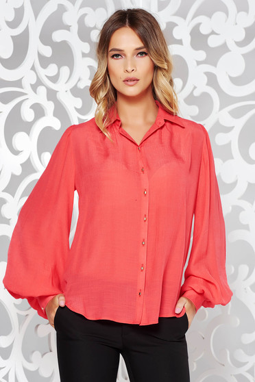 PrettyGirl coral women`s shirt office flared airy fabric long sleeve