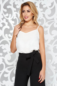 StarShinerS white elegant flared top shirt voile fabric adjustable straps