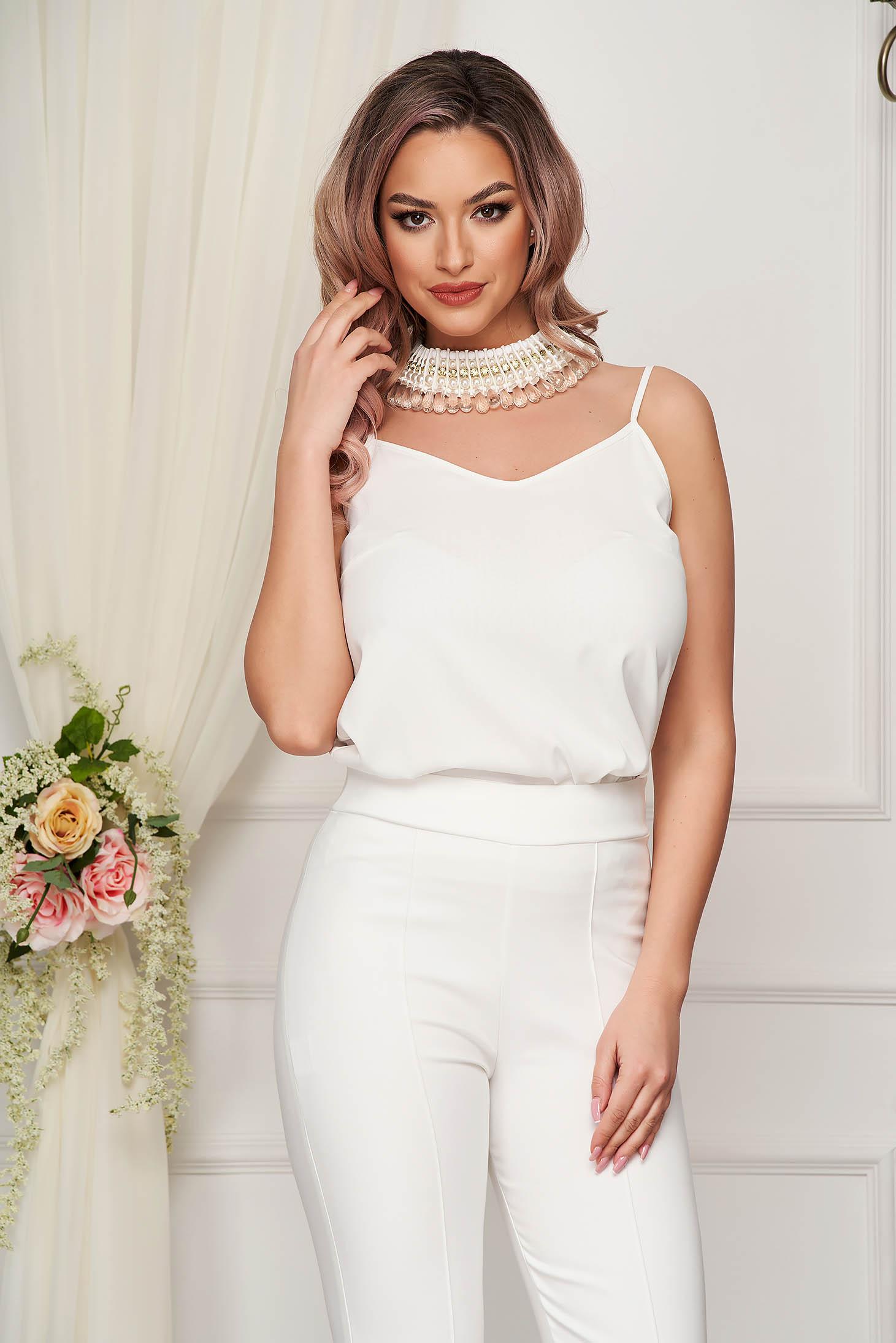 Top StarShinerS alb elegant cu croi larg din voal cu bretele ajustabile
