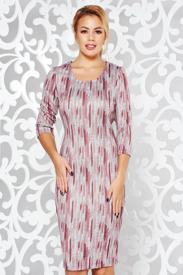 Rosa dress office pencil knitted fabric from soft fabric midi with graphic details