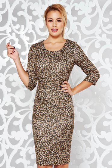 Brown dress daily midi pencil animal print knitted fabric from soft fabric
