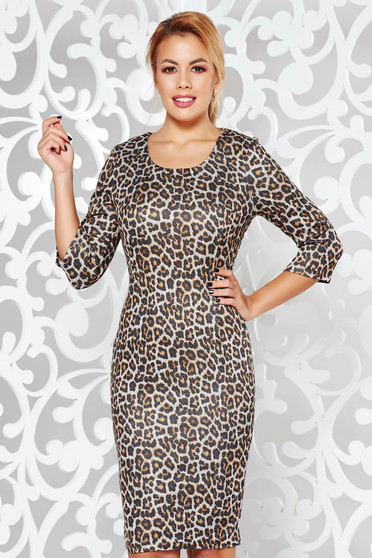 Darkbrown dress daily midi pencil animal print knitted fabric from soft fabric