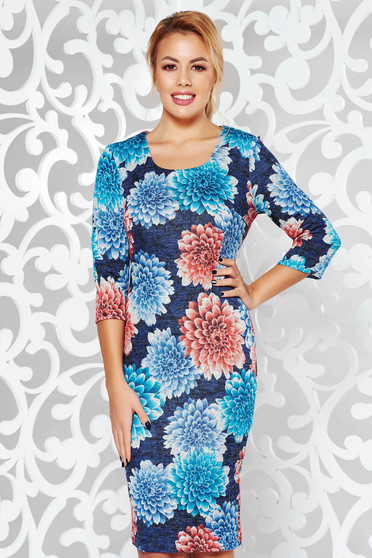 Turquoise dress office pencil midi knitted fabric from soft fabric with 3/4 sleeves