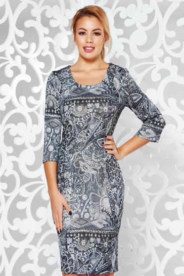 Grey dress office midi pencil knitted fabric from elastic fabric with graphic details