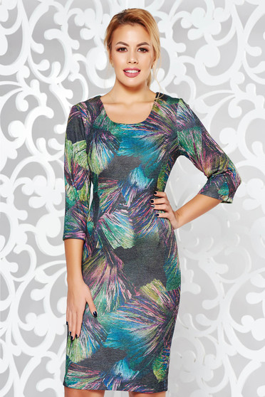 Darkgreen dress daily midi knitted fabric from elastic fabric with tented cut with 3/4 sleeves