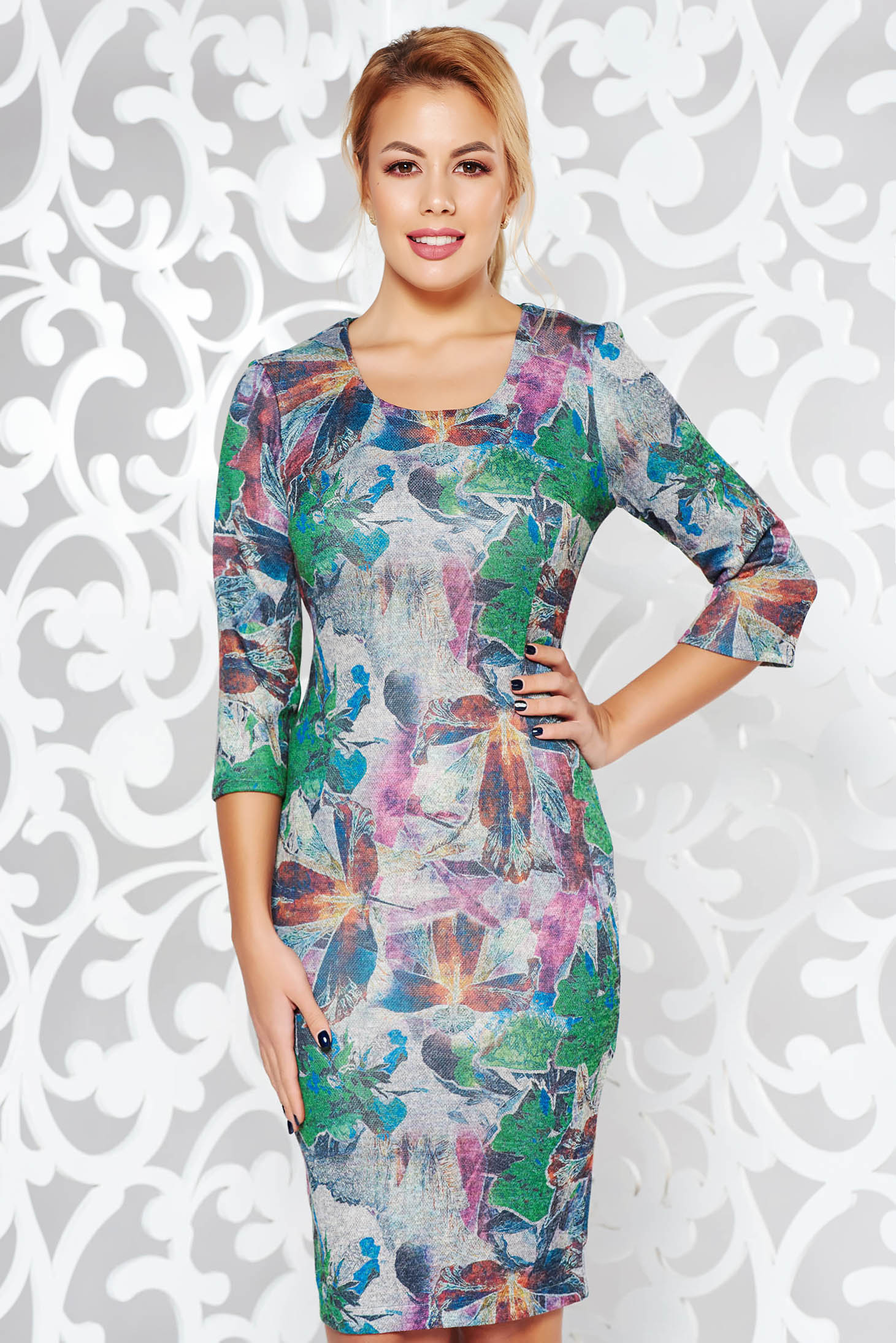 Grey dress daily midi knitted fabric from elastic fabric with tented cut with 3/4 sleeves