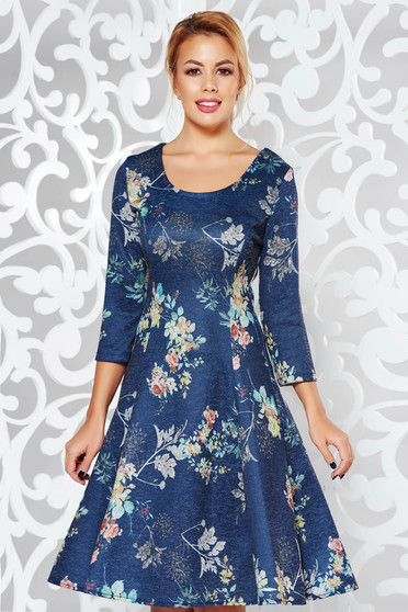 Darkgreen dress daily cloche knitted fabric slightly elastic fabric with floral prints midi