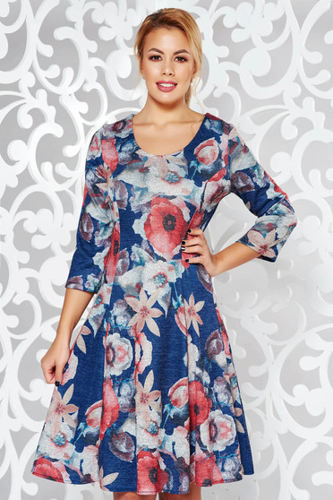 Rosa dress daily cloche knitted fabric slightly elastic fabric with floral prints midi