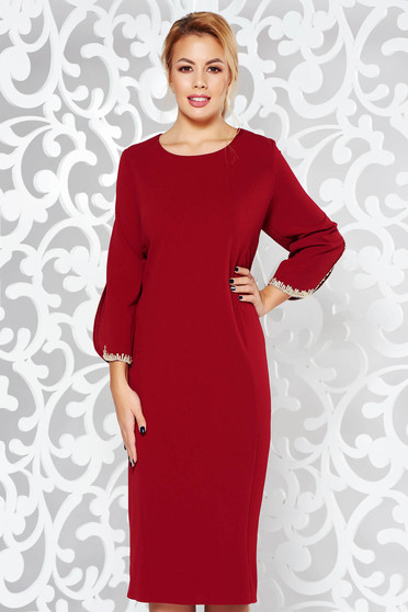 Burgundy dress elegant pencil from elastic fabric with embroidery details