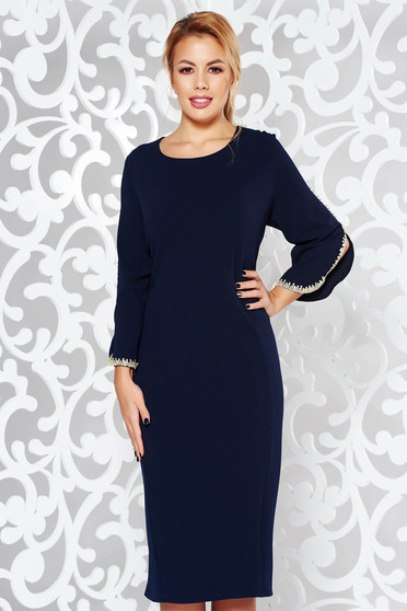 Darkblue dress elegant pencil from elastic fabric with embroidery details