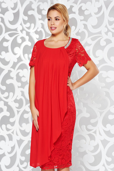 Red occasional pencil dress laced with inside lining voile overlay with bright details