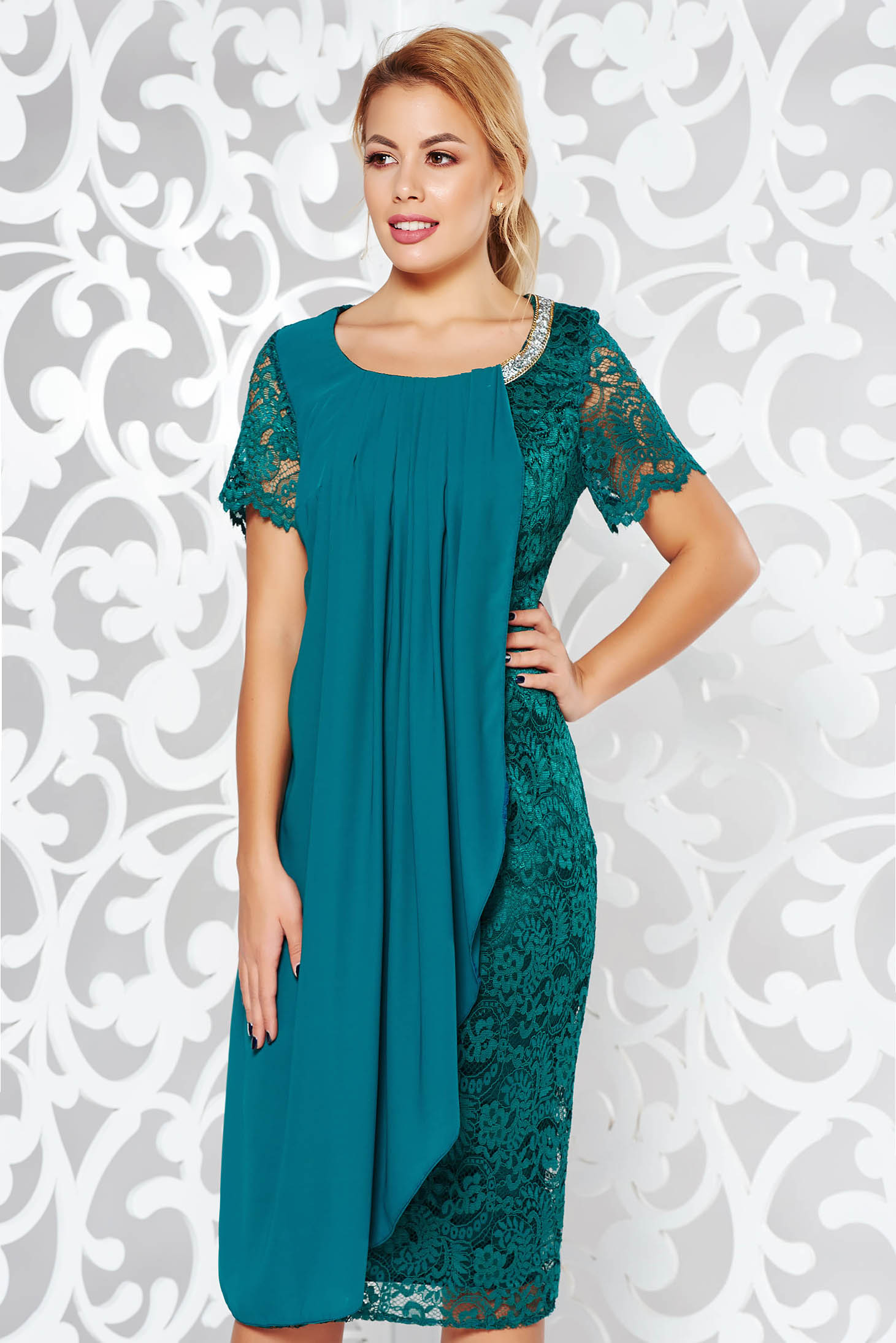 Green occasional pencil dress laced with inside lining voile overlay with bright details