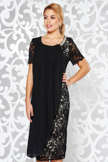 Black occasional pencil dress laced with inside lining voile overlay with bright details