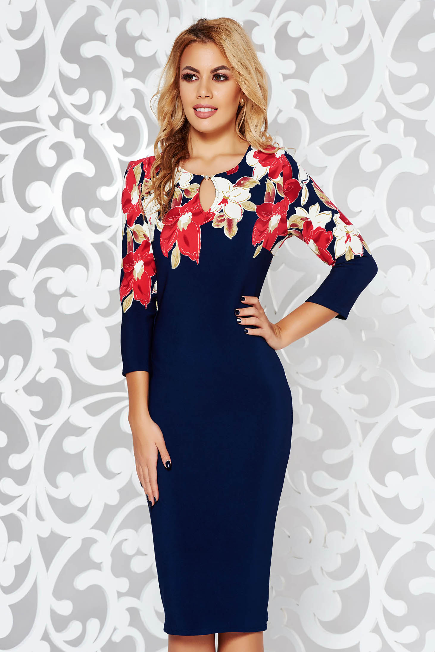 Darkblue office pencil dress from elastic fabric from soft fabric with floral prints