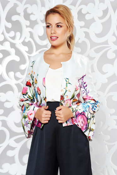 StarShinerS white elegant flared jacket from satin fabric texture with bell sleeve