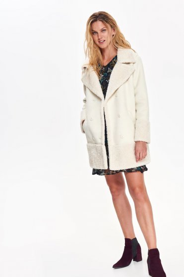 Top Secret white casual straight long sleeved coat from thick fabric