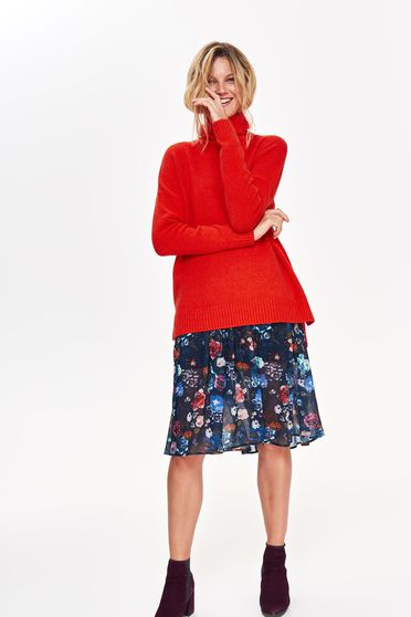 Top Secret orange casual flared sweater asymmetrical from velvet fabric