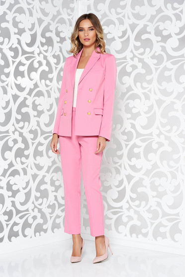 StarShinerS pink lady set office non-flexible thin fabric with straight cut with inside lining