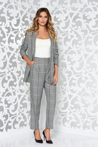 StarShinerS brown lady set office non-flexible thin fabric plaid fabric with inside lining