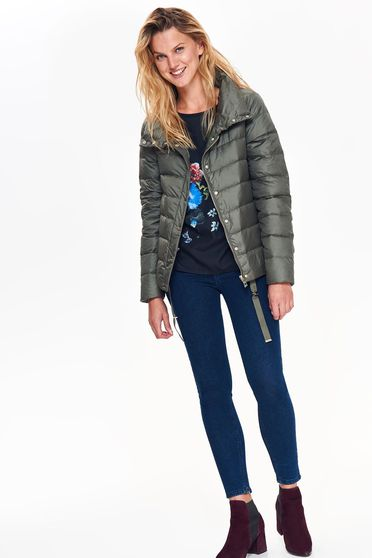 Top Secret green casual jacket from slicker with straight cut with inside lining