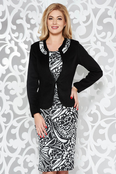 Black lady set office from thick fabric
