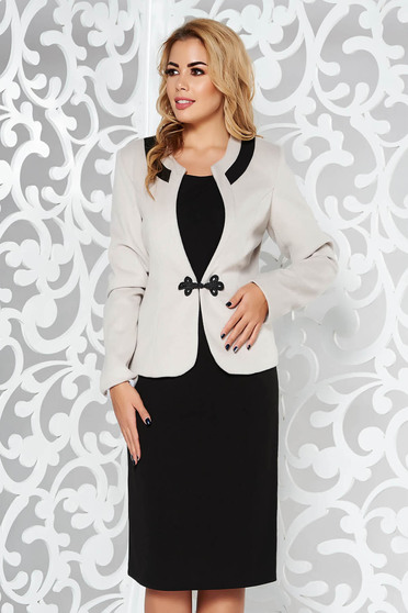 Grey lady set office from thick fabric