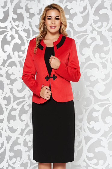 Red lady set office from thick fabric