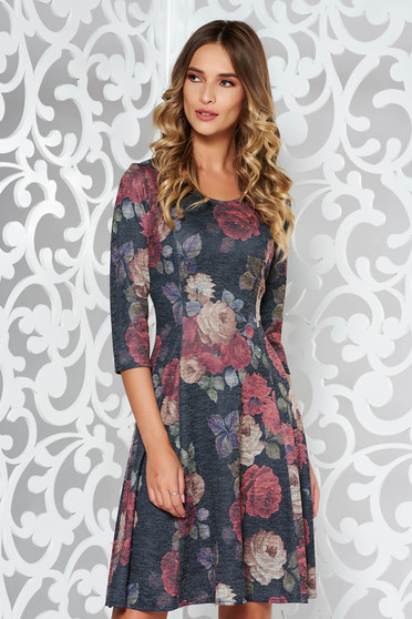 Darkblue dress daily midi cloche from soft fabric knitted with print details