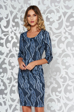 Grey dress daily midi pencil from soft fabric knitted with 3/4 sleeves