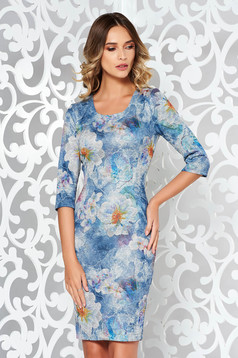 Lightblue daily midi dress with tented cut from soft fabric knitted with print details