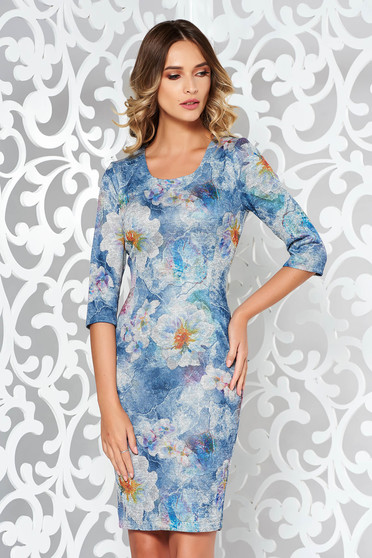 Lightblue dress daily midi with tented cut from soft fabric knitted with print details