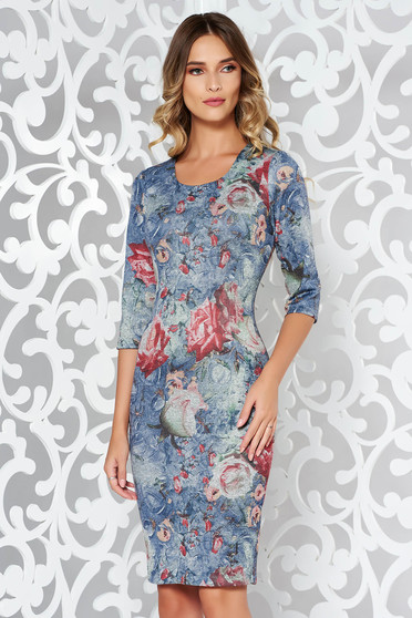 Rosa dress daily midi pencil knitted from soft fabric with print details