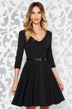 StarShinerS black elegant cloche dress flexible thin fabric/cloth with v-neckline accessorized with belt