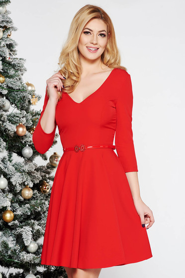 StarShinerS red elegant cloche dress flexible thin fabric/cloth with v-neckline accessorized with belt