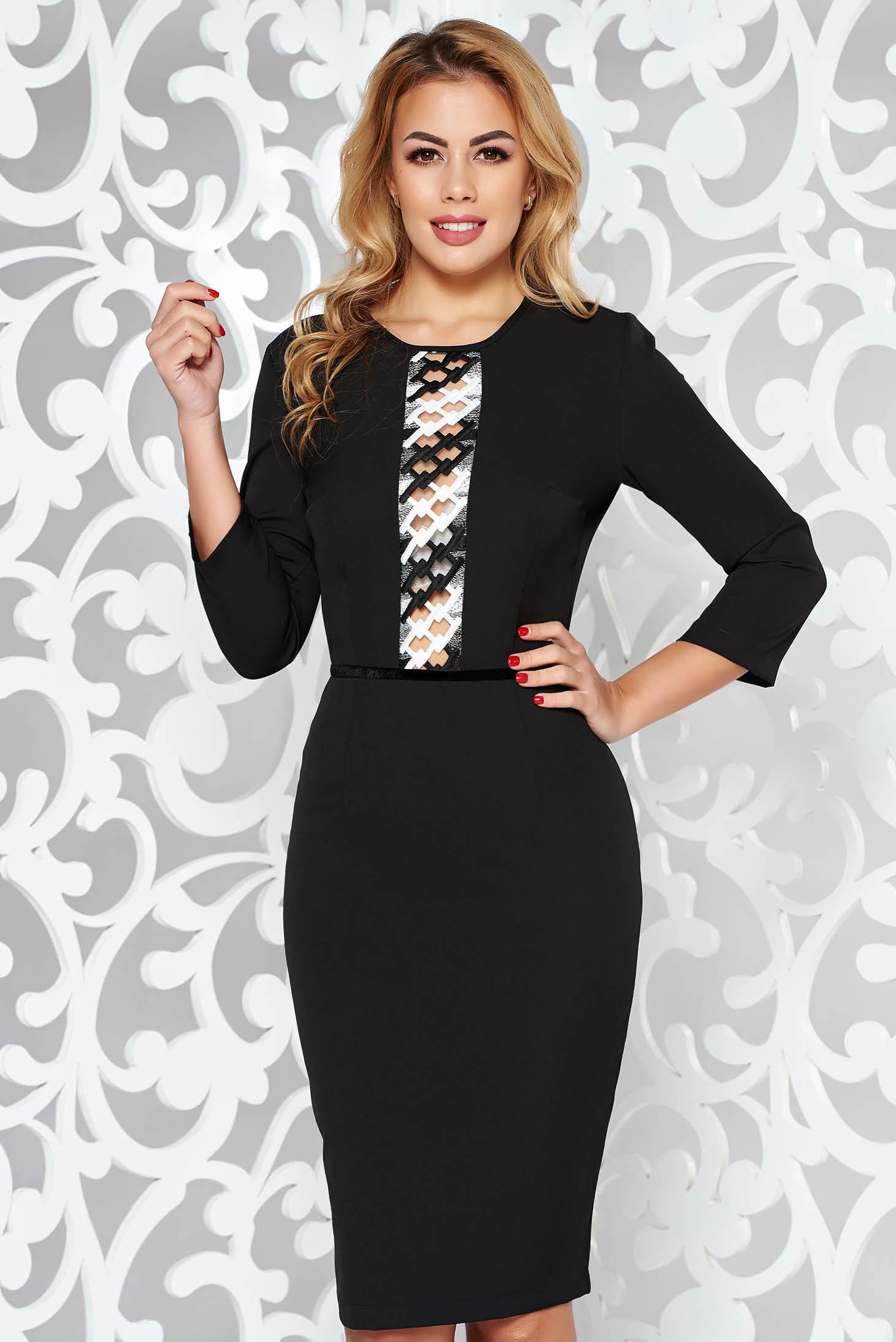StarShinerS black elegant pencil dress 3/4 sleeve slightly elastic fabric front embroidery