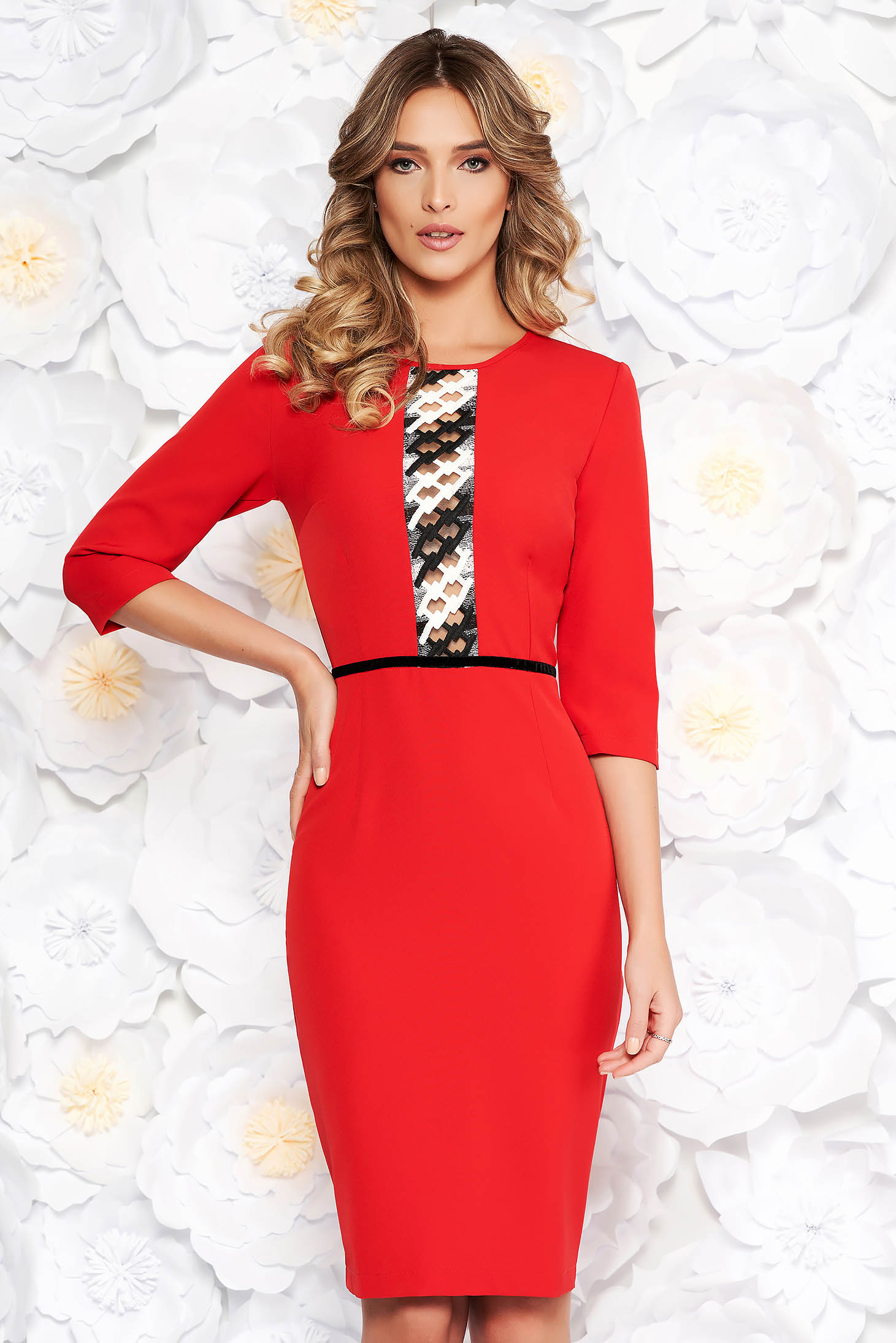 StarShinerS red elegant pencil dress 3/4 sleeve slightly elastic fabric front embroidery