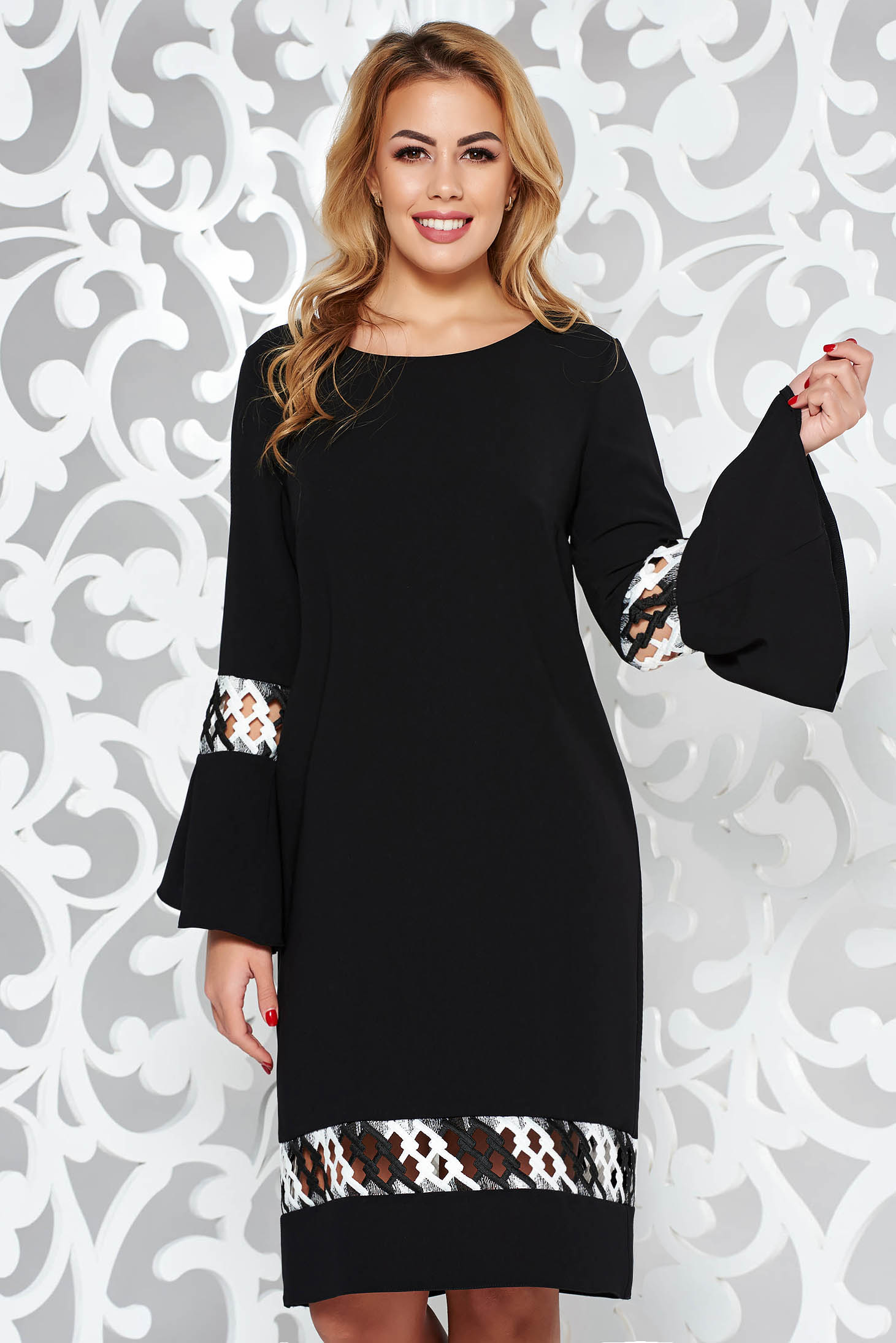 StarShinerS black elegant flared dress slightly elastic fabric with embroidery details