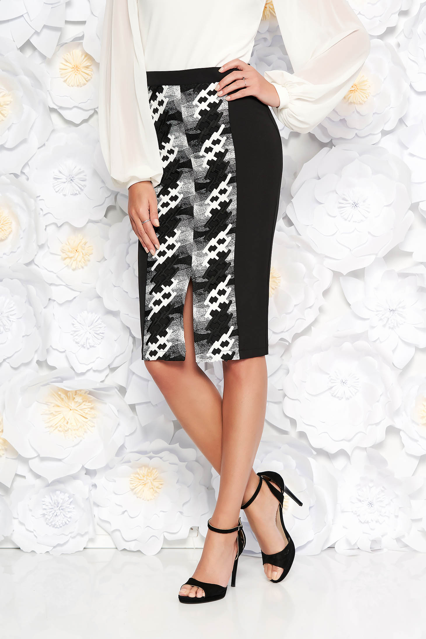 StarShinerS black elegant pencil high waisted skirt slightly elastic fabric front embroidery